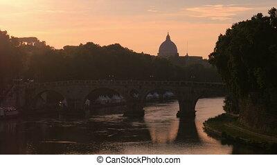 """city view with stone birdge, tiber river, rome, italy, 4k"""