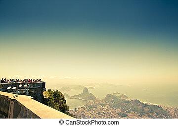 city views from Corcovado Rio De Janeiro Brazil