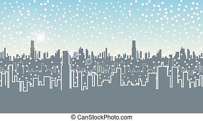 city., vinter, rubrik, hus, seamless, snow., jul