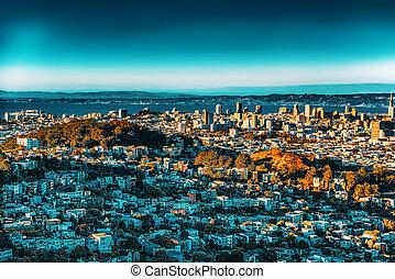 city., vista, panorámico, san francisco