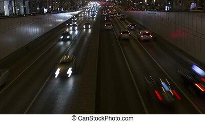 city., voitures, timelapse, lumières, nuit, route
