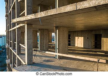 city., vue, aérien, grand, cadre, appartement, béton, construction, sous, bâtiment