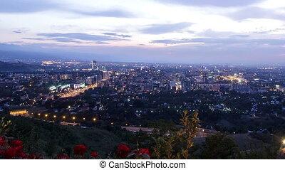 City wakes up. Almaty, Kazakhstan. Time Lapse