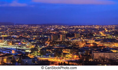 City wakes up. Dawn over Oslo, Norway. Time Lapse