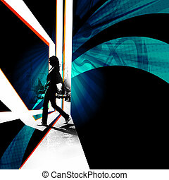 City Walker Silhouette - Silhouette of a female pedestrian...