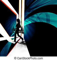City Walker Silhouette - Silhouette of a female pedestrian...
