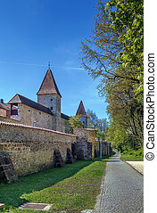 City wall in Amberg, Germany
