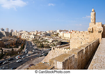 View from the city wall of Jerusalem