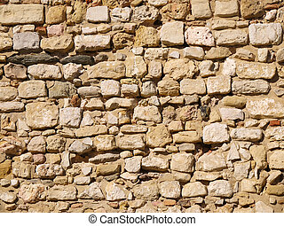 City wall made of uneven rocks