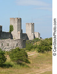 Medieval city wall around the town Visby.
