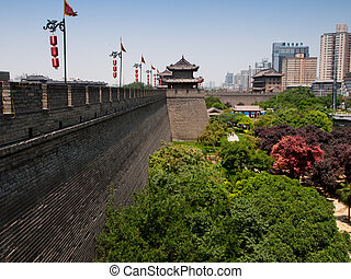 Xian ancient city wall with pagodas.