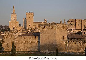 City Walls, Cathedral and Palais des Papes Palace; Avignon,...