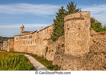 city walls of Bevagna, Umbtia, Italy - the medieval city ...