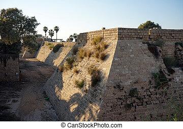 City walls of Caesarea in Israel