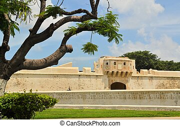 Old city walls, built against pirates in Campeche, Yucatan Peninsula, Mexico.