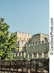 City walls of Constantinople in Istanbul, Turkey - The...