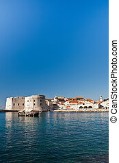 City walls of Old town of Dubrovnik over the sea