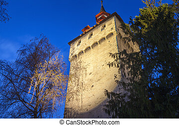 City walls tower in Lucerne