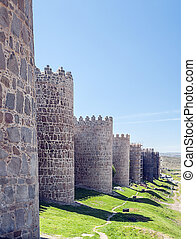 City walls - View of the Spanish city walls of Avila with ...