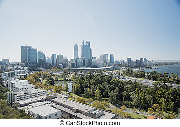 City Wanderlust - Wide angle view of Perth, showing the...