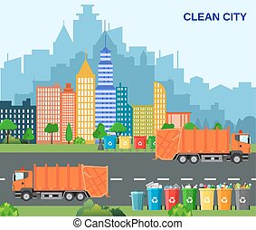 City waste recycling concept with garbage truck