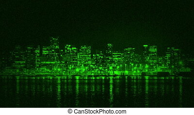 City Waterfront Night Vision - City waterfront in the...
