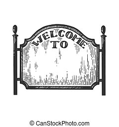 City welcome road sign vector illustration. Scratch board...