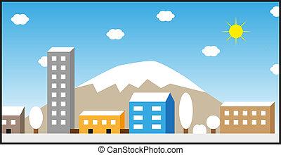 City winter illustration