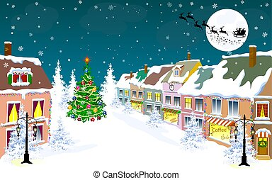 City, winter, night, Santa on a sleigh