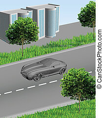 City ??with a road car, houses, grass and trees. Vector