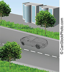 City ??with a road, grid car, houses, grass and trees. Vector