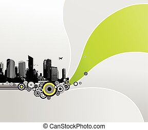 City with abstract background. Vector