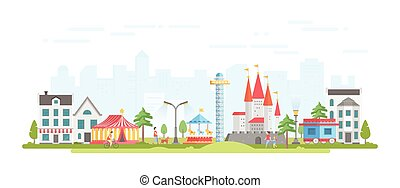 City with amusement park - modern flat design style vector illustration