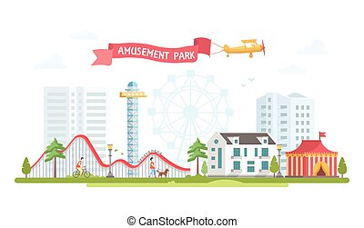 City with amusement park - modern flat design style vector illustration