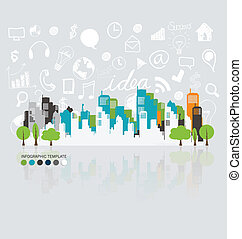City with application icon, modern template design. Vector illus