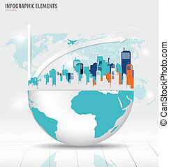 City with application icon, modern template design. Vector illustration