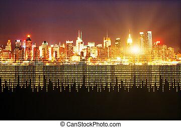 city with binary code
