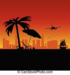 city with boat and beach stuff art vector illustration