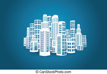 City with buildings and skyscrapers. - City with...