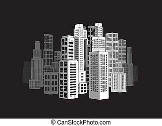 City with buildings and skyscrapers. - City with three-...