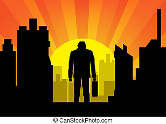 city with businessman