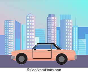 City with Car at Street, Vehicle Riding on Road