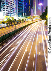 City with car light