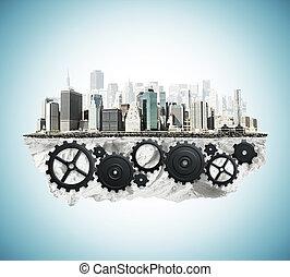 city with cogwheel