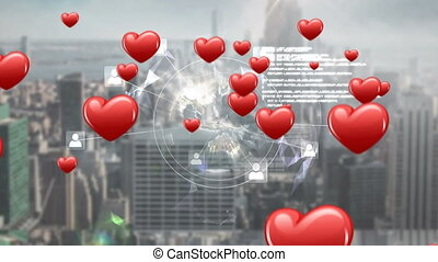 City with digital globe and hearts