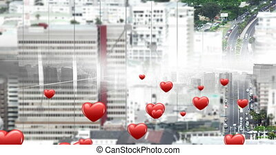 city with flying hearts icons 4k