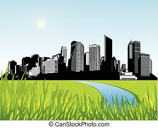 City with green grass at the front. Vector art