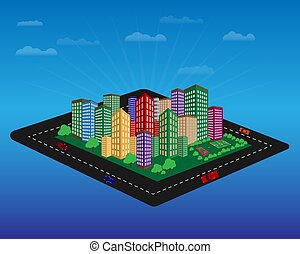 city with high-rise buildings - city with high-rise houses...