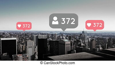 City with increasing hearts and followers 4k