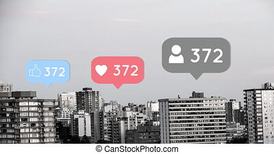 City with increasing likes and hearts 4k